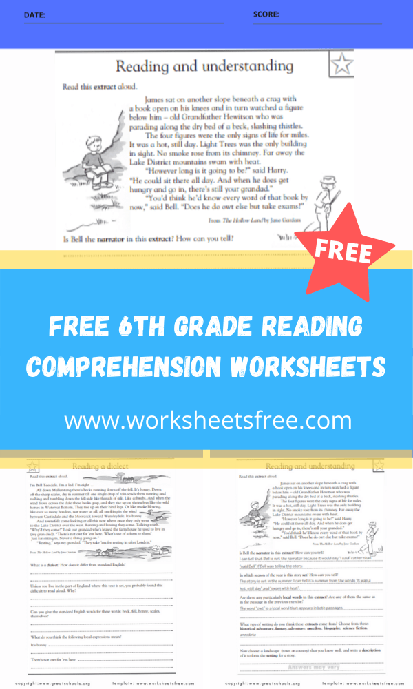 free 6th grade reading comprehension worksheets