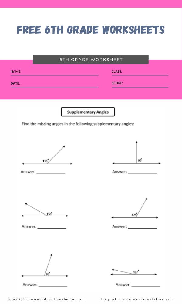 free 6th grade worksheets 2