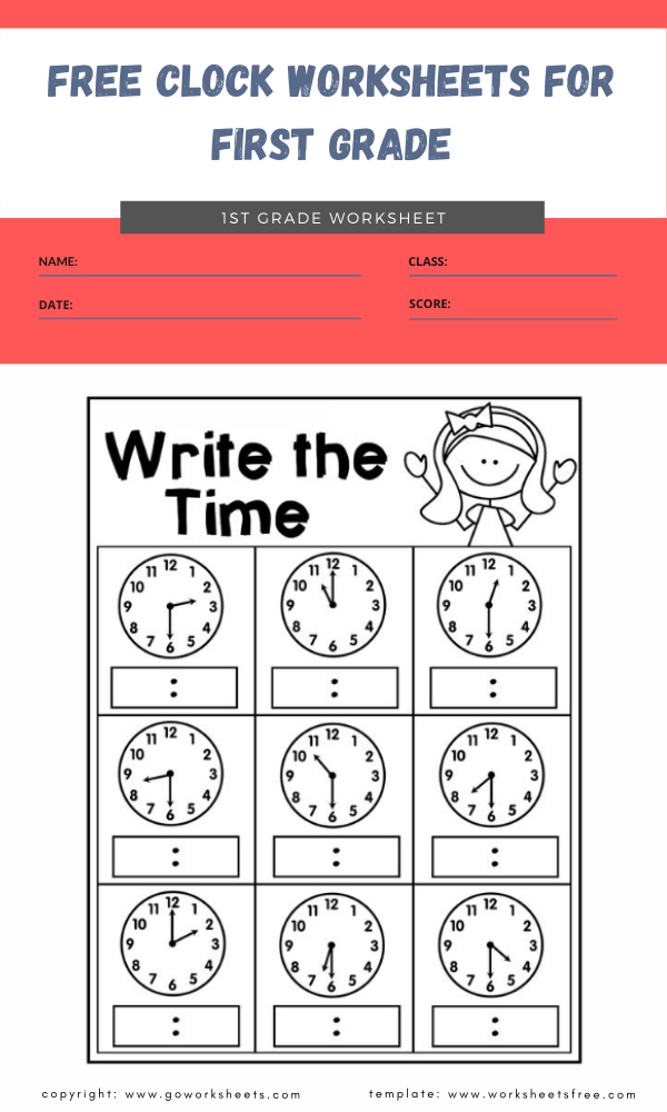 free clock worksheets for first grade 1
