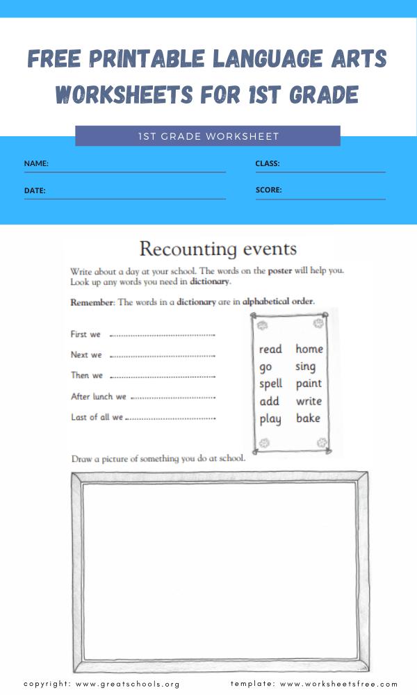 Free Printable Language Arts Worksheets For 1st Grade 1 Worksheets Free