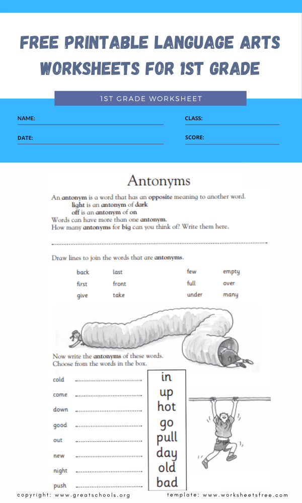 free printable language arts worksheets for 1st grade 2