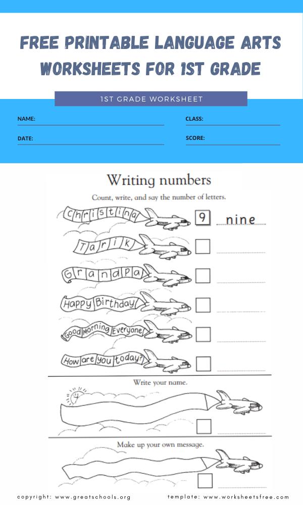 free printable language arts worksheets for 1st grade 3