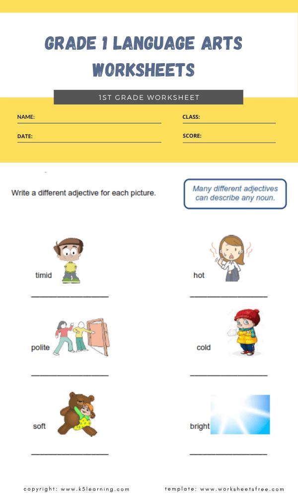 grade 1 language arts worksheets 4