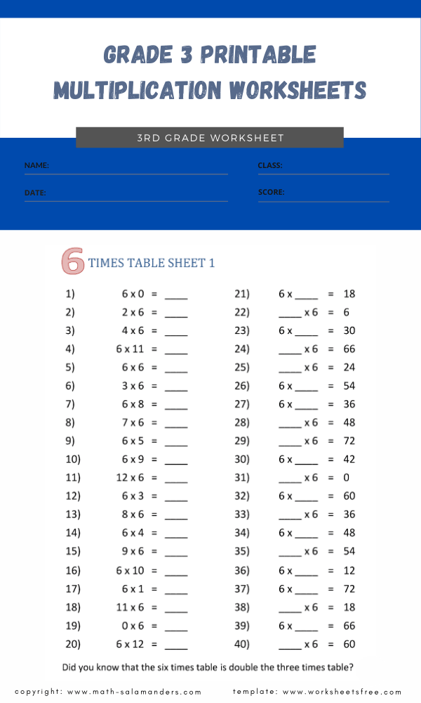 grade 3 printable multiplication worksheets 1