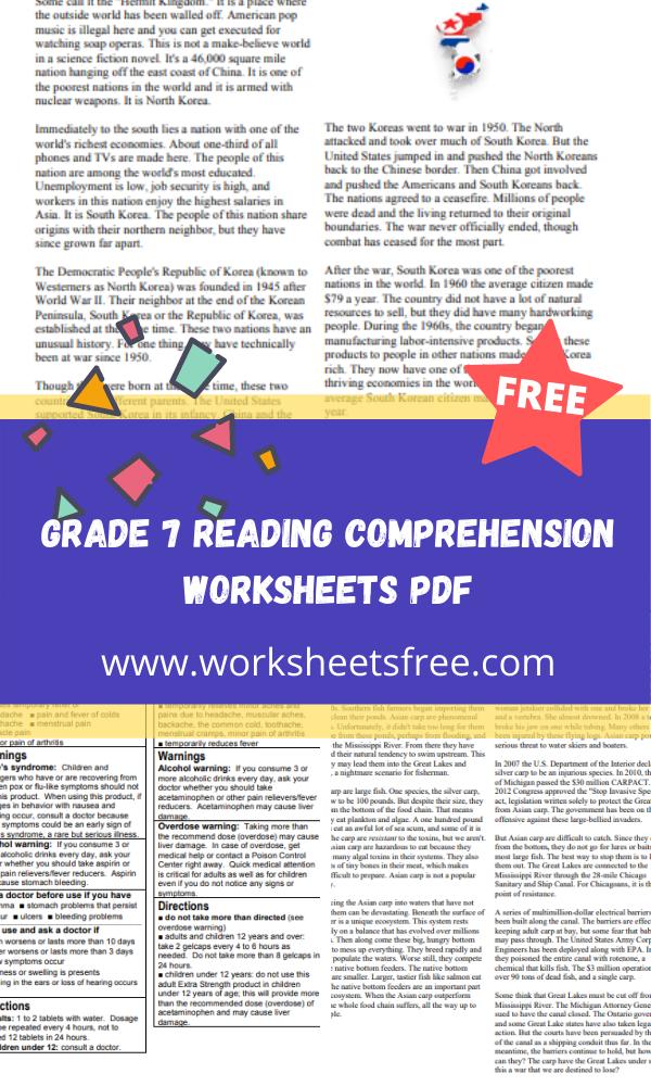 grade 7 reading comprehension worksheets pdf