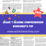 grade 7 reading comprehension worksheets pdf
