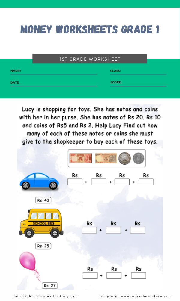 money worksheets grade 1 1