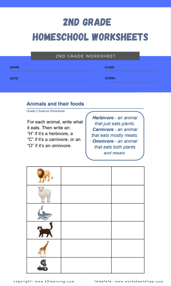 2nd grade homeschool worksheets 1