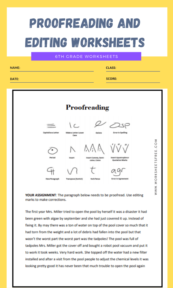 proofreading and editing worksheets grade 6 2