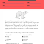 reading comprehension worksheets 5th grade multiple choice 5