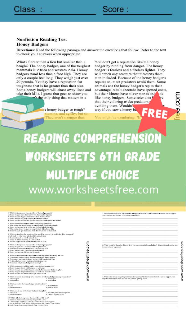 Reading Comprehension Worksheets 6th Grade Multiple Choice : Grade 6 Worksheets  Free