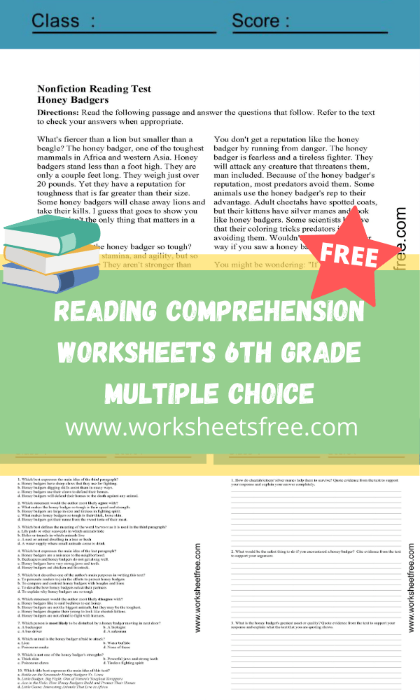 Reading Comprehension Worksheets 6th Grade Multiple Choice ...