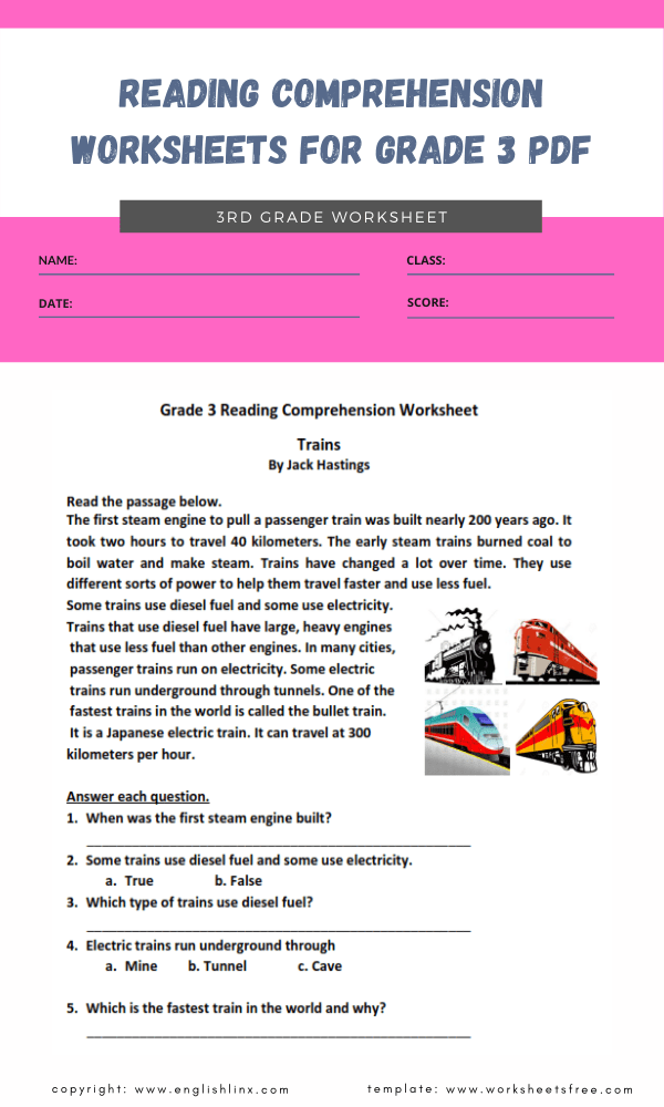 reading comprehension worksheets for grade 3 pdf 2