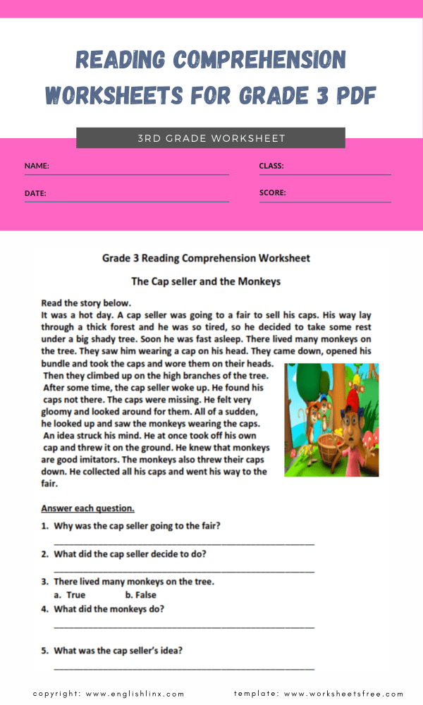 reading comprehension worksheets for grade 3 pdf 3