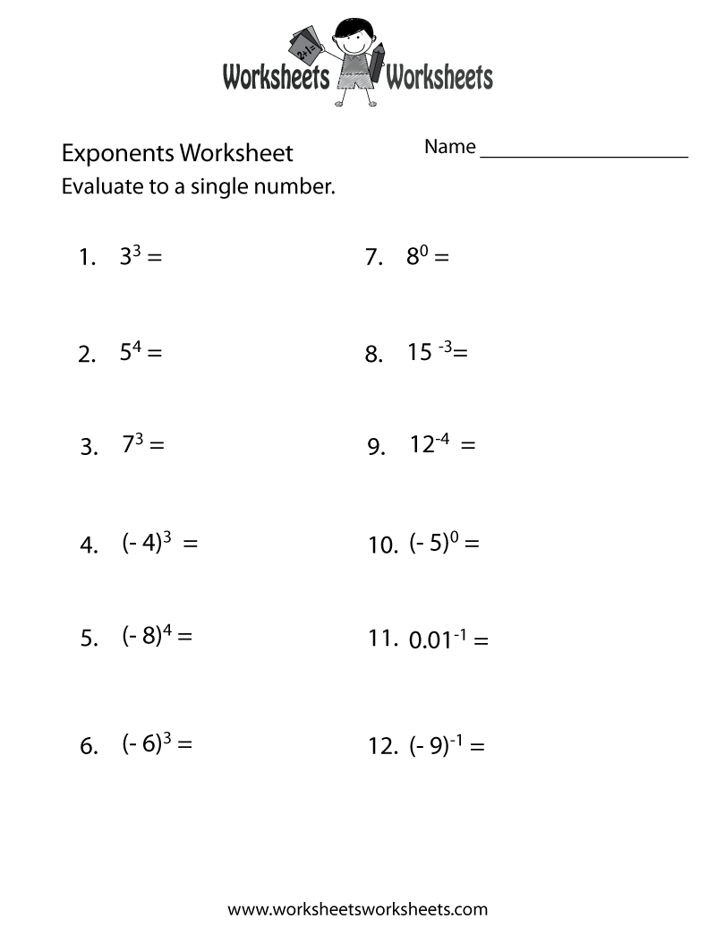 Exponents Practice Worksheet