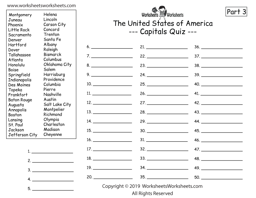 Homeschool Geography Worksheet