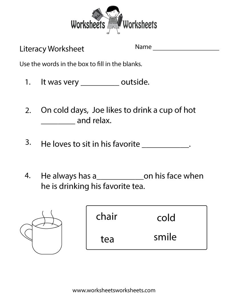 Kindergarten Literacy Worksheet