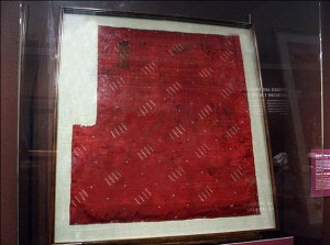 Joseph Smith's silk handkerchief given to Wilford Woodruff on July 22, 1839, on display in the Church History Museum, 2005. Photograph by Kenneth R. Mays.