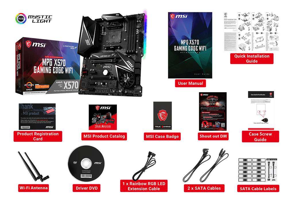 MSI MPG X570 GAMING EDGE WIFI box content
