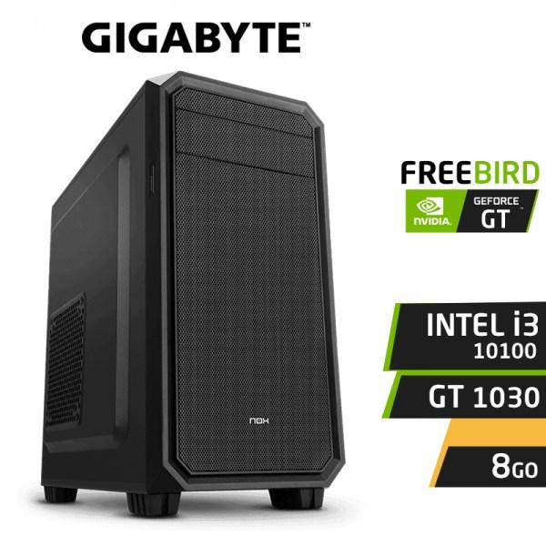 PC gamer FREEBIRD F10 I3-10100 8Go GT 1030