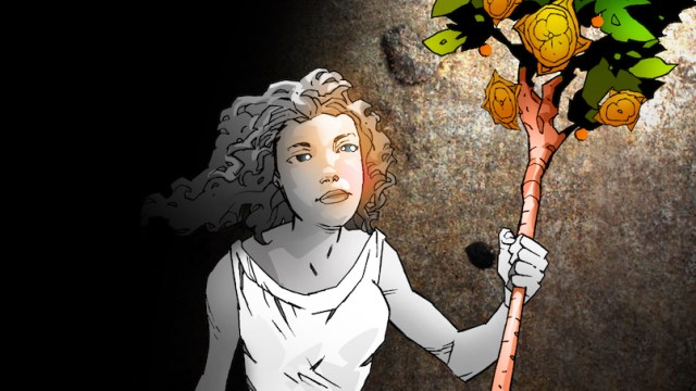 Manga image of grey woman holding staff of Aaron with light showing her blue eyes