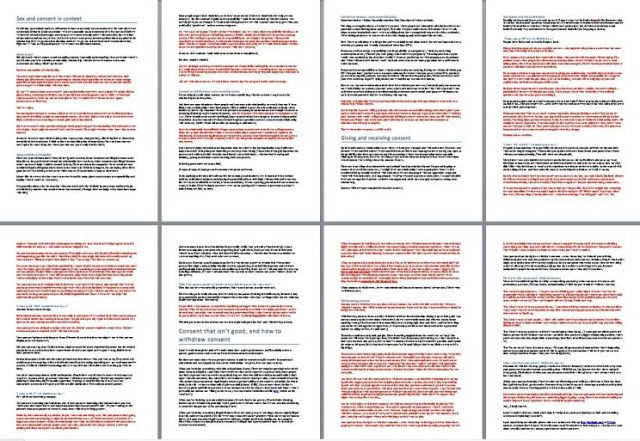 Essay on consent; red text is what I didn't know when I married