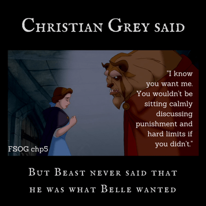 Beast and Belle with quote from by Christian Grey FSOG chapter 5 about consent and hard limits.