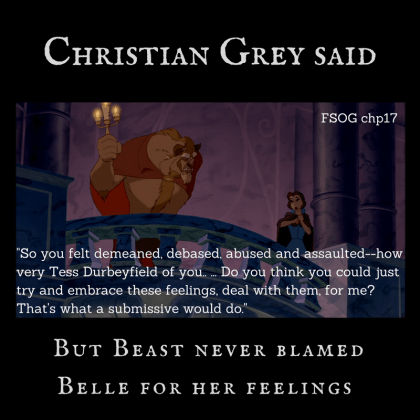 Beast and Belle on balcony with quote from Christian Grey about debasement from FSOG chapter 17