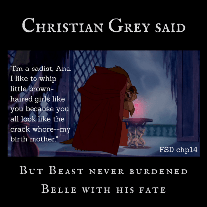 Quote by Christian Grey from Fifty Shades Darker against image of Beast with rose from 1991 Beauty and the Beast