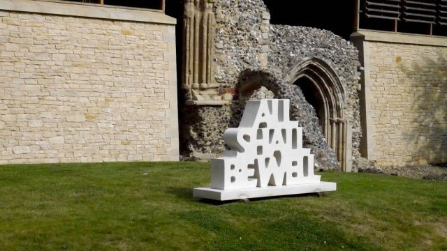 All Shall Be Well outside Norwich Cathedral