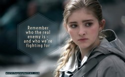 "Primrose Everdeen from the Hunger Games with the words ""Remember who the real enemy is and who we're fighting for"""