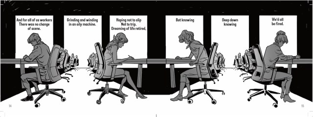 Manga art of office workers sitting at their desks, in long rows, heads bowed working.