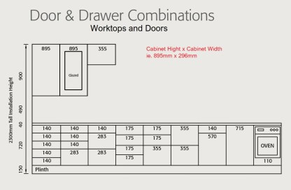 Tall Kitchen Cabinets Door and Drawer Combination
