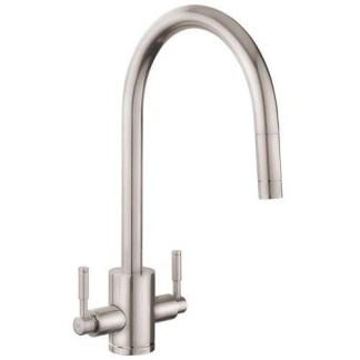 Tap, Dual Lever, Pull Out Spray, Rangemaster Aquatrend Brushed finish
