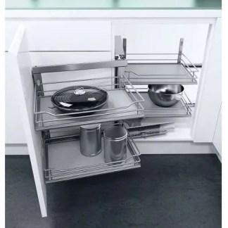 Swing Out Corner Storage Grey Solid Base 1000mm