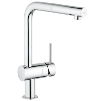 Tap, Single Lever Monobloc Mixer, Pull Out Spray, L-Spout, Grohe Minta