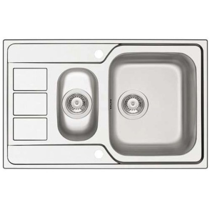 Sink, 1.5 Bowl with Drainer, Athena Polished