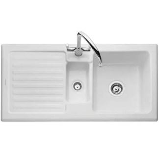 Sink, Ceramic, 1.5 Bowl and Drainer, Rangemaster CRT10202