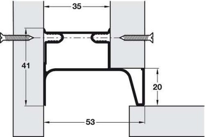 End Profile, for Vertical Fixing between Cabinet and Door, Gola