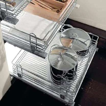 Pull Out Chrome Wire Basket, for Door Front Fixing Cabinets