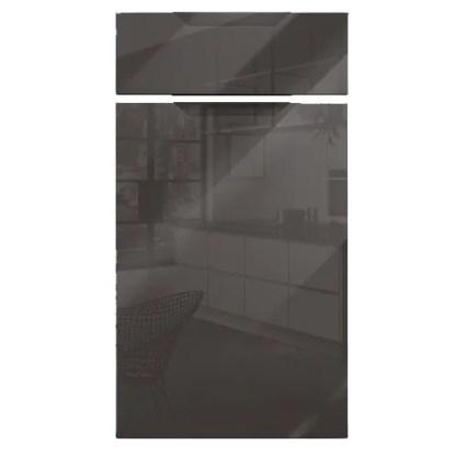 Gloss Graphite Handleless Cabinet Doors Mercury