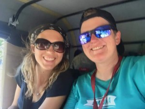 Sharing the back of a rickshaw w Lisa from the NZ team Flying Kiwis.