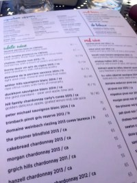 Wine list at the Gallery