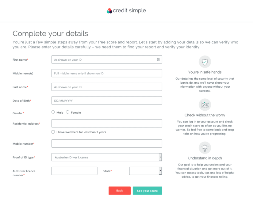 Credit Simple Sign Up Form