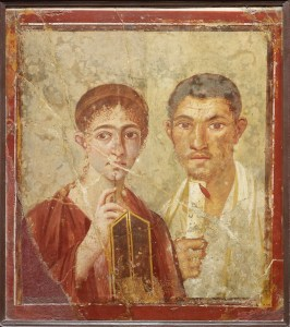 Wall painting of the baker Terentius Neo and his wife. From the House of Terentius Neo, Pompeii. AD 50 to 79. Copyright Soprintendenza Speciale per i Beni Archeologici di Napoli e Pompei / Trustees of the British Museum