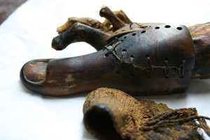 This leather and wood toe was found with a female mummy in Luxor. Image: Dr Jacky Finch, courtesy of the Egyptian Museum, Cairo