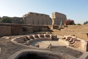 Excavated remains of the Ptolemaic baths at Karnak.