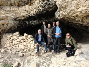 Roger Matthews (left) with colleagues at the cave site at Zarzi, Iraq.