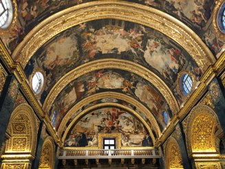 The spectacular interior of St John's, the Knights' church, in Valletta.