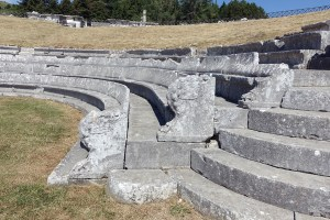 Detail of the curved-back theatre seats with griffin figures at the end.